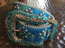 B.B. Simon Swarovski Crystal Belt in Turquoise Horsehair & Leather Size Large