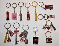 13 BRITISH KEYRINGS - MIX LONDON SOUVENIRS KEYCHAINS - UNION JACK KEY RINGS x 13