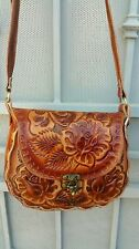 Authentic handmade hand tooled leather purse with traditional  flowers