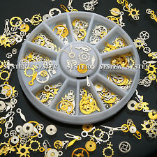 120 Pcs Metal Gear Stud Sheet Mixed Steampunk Nail Art Decoration+Wheel #SB-140