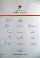 ZIMBABWE TO ENGLAND 1985 – CRICKET OFFICIAL AUTOGRAPH SHEET