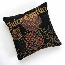NEW! Juicy Couture Bedding Throw Pillow -Black Silk Velour Gold Rose embroidered