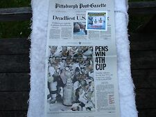 Stanley Cup Win Pittsburgh Post-Gazette Newspaper June 13, 2016