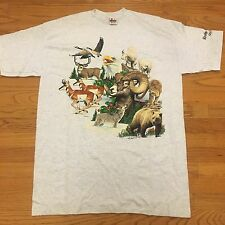 VTG 90s NWOT ROCKY MOUNTAINS Tiger Bear Nature Wildlife EAGLE T Shirt XL Indie