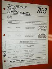 1976 DODGE PLYMOUTH CHRYSLER CORDOBA MOTOROLA RADIO TAPE FACTORY SERVICE MANUAL