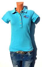 Damen Polo Shirt T-shirt Hellblau Patches aufnäher Hip Way Paris Gr.S 34/36 NEU