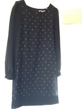 Smart Little Black Cocktail Dress Beaded Sheer Sleeves Size 6  From Next New