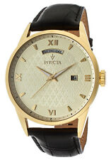 New Men's Invicta 12244 Vintage Swiss Gold Textured Dial Black Leather Watch