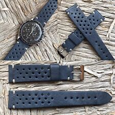 20 mm Military Blue Leather Rally Racing Strap arm band uhr bracelet cinturino