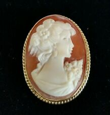 Vintage Oval shell cameo. In a 9ct yellow gold mount . Neo-classical portrait.