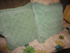 KMART GREEN VELVET RUCHED (PAIR) SMALL ZIPPERED PILLOW COVERS 15 X 15 RETRO