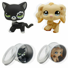 2pcs #2249 #1716 Littlest Pet Shop black cat Cocker Spaniel Puppy Dog LPS Rare