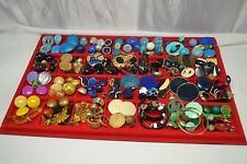 Huge!! Vtg to Mod SINGLE Earrings Colorfull LOt Post Clip Craft Jewelry Parts