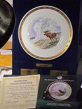 Royal Copenhagen Natl Parks  YELLOWSTONE Moose & Old Faithful Ltd Ed Plate