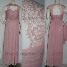 New Long Rose Pink Lace Cutout Maternity Dress Gown Chiffon MEDIUM Bridesmaids