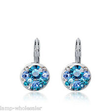 Blue Swarovski Gem Girls Women Silver Crystal Rhinestone Earrings Studs