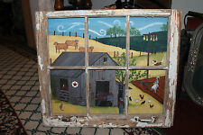 Original Country Decor Oil Painting W/Antique Wood Window Frame-Farm Life