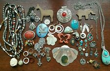 Mixed Vintage Mod Jewelry Lot Mexico Southwestern Pendants Carved Antler Indian