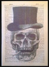 Skull Top Hat Print Vintage Dictionary Page Wall Art Picture Skeleton Steampunk