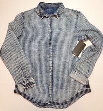 CALVIN KLEIN Jeans Shirt Large Bleach Stripe Indigo Blue Metal Snaps