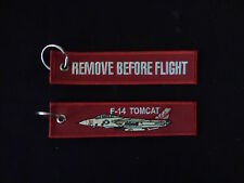 Cloth Keyring - F-14 Tomcat on front, Remove Before Flight on reverse