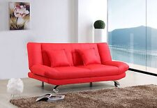 RED Leather Sofa Bed Only £179, 2 Free Cushions, FREE DELIVERY