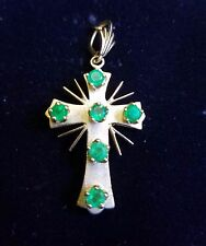 Vintage Stunning 18K Yellow Gold & Emerald Cross Pendent Jewelry 5.8 Gram's