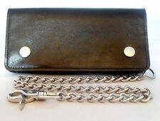Genuine Leather Motorcycle Trucker Biker Chain Wallet Inside Zipper Black New