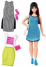 Barbie Fashionista Curvy Dark-Haired Doll with 2 Additional Outfits