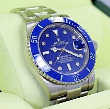 Rolex Submariner 116610 Steel Blue Ceramic Bezel Diamond Dial Men's Watch *MINT*