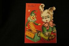 Vintage Jack In The Box & Terrier Christmas Card c. 1950s s. co.