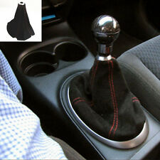 Manual Transmission Shift Gear Knob Root Nubuck Genuine Leather Cover For Audi