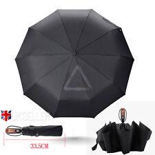 Premium Fiberglass Windproof Vented Auto Open & Close Mens Ladies Black Umbrella