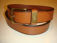 POLO RALPH LAUREN BELT 34 BROWN WITH BRASS PONY ENGRAVED ON BELT LOOP