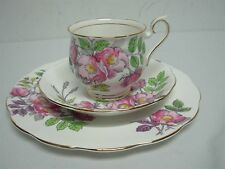 ROYAL ALBERT FLOWER OF THE MONTH DOG ROSE TEACUP SAUCER DESSERT PLATE TRIO