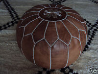 Dark Tan Moroccan Genuine Leather Pouf Ottoman Footstool Poof Pouf  Pouffes