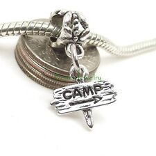 Go Camping Camp Dangle Charm Bead Large Hole Slider Fit European Bracelet