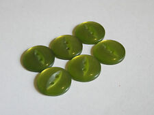 6 16mm Fisheye Pearlescent Pearly Pearlized Green Buttons Vintage 1980s