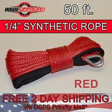 "1/4"" x 50' RED Synthetic Winch Line Cable Rope 6500+ LBs with Sheath (ATV UTV)"
