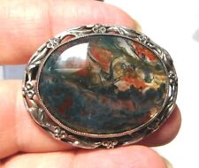 British Antique Green Red Moss Agate Cabochon Silver Flower Brooch Pin 12b 36