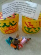 Two boxes of 6  Guatemalan worry dolls in each  hand painted wooden box