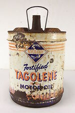Vintage Skelly Fortified Tagolene HD Motor Oil Gas Station Metal Can 5 Gallon