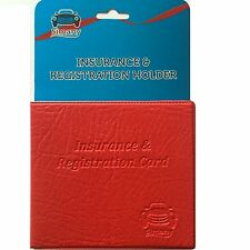 Red AUTO CAR TRUCK INSURANCE REGISTRATION CARD CASE HOLDER Embossed Faux-Leather