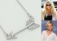 New Fashion Celebrity Inspired Crystal Silver Cupid's Arrow Pendant Necklace