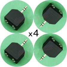 4 pack 3.5mm Male to 3.5mm Double Female Stereo Head Phone Adapter Plug Jack NEW