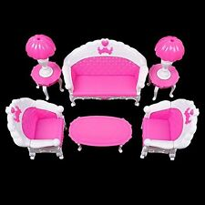 6 PCS Furniture Set Sofa Chair Lamp Coffee Tea Table for Barbie Dolls House Toys
