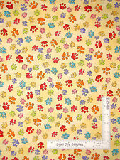 Loralie Happy Cats Paw Print Yellow Cotton Fabric QT 24419 Loralie Harris - Yard