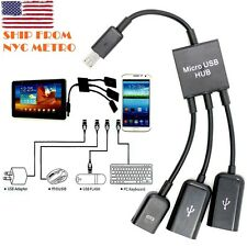 Dual Micro USB OTG Hub Host Adapter Cable for Samsung Galaxy Tab3  S4 S5 S3