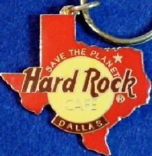 Hard Rock Cafe DALLAS 1990s Red Texas Map Shape KEYCHAIN Brown HRC Logo GRID BK