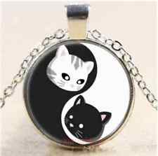 Vintage Yin and Yang cat Cabochon Glass silver necklace Men and women jewelry
